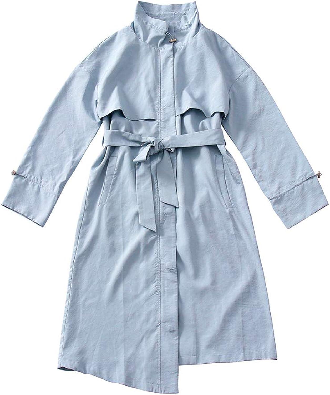 LHHJ Coat Polyester Long Sleeve bluee Long Jacket