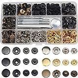 Gasea 120PCS Remaches Para Cuero, Botón a Presión de Metal 6 Colores + Metal Artesanía Herramineta de Fijación Snaps Botones