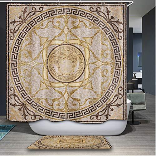 XQWZM Europa Marke Medusa Muster Duschvorhang Hochwertige Polyester Wasserdicht Bad Vorhang Für Badezimmer Mit Typ Haken, 180X180 cm