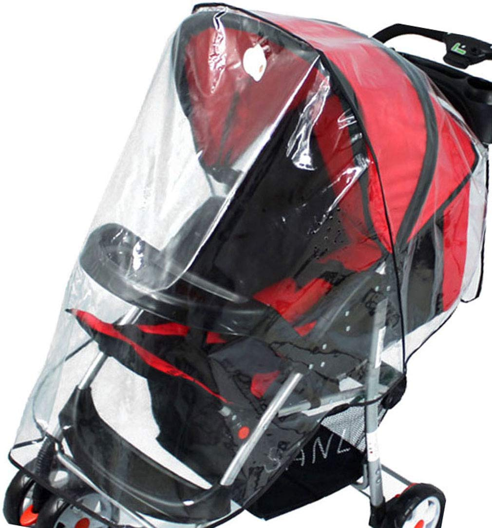 Rain & Wind Shield Transparent Baby Stroller Cover for Travel, No Window, Clear2
