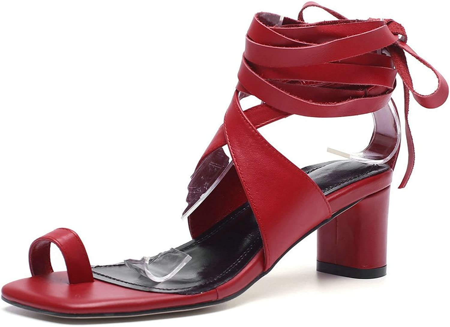 AnMengXinLing Women Knee High Gladiator Sandals Block Heel Strappy Lace up Ankle Strap Heeled Sandals Genuine Leather Flip Flop High Heel shoes