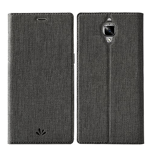 OnePlus 3T case ,OnePlus 3 Cover,Feitenn Premium Flip Leather PU Wallet case Smart Cover with Stand Kickstand Card Holder Magnetic Closure Slim Fit cover case for OnePlus 3 & OnePlus 3T(Gray)