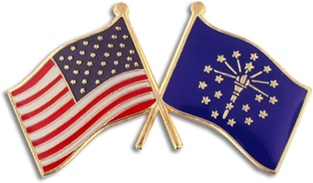 PinMart Indiana and USA Crossed Friendship Flag Enamel Lapel Pin