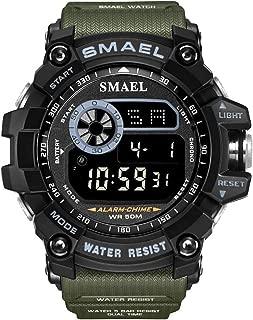 SMAEL Men's Sports Watch Outdoor Waterproof Watch EL Display Quartz Electronic Movement Backlit Watches
