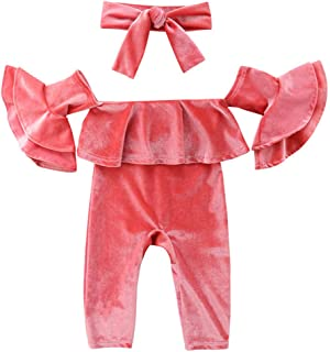 Fairy Baby Infant Baby Girls 2pcs Clothes Set Flare Sleeve Off Shoulder Romper+Headband