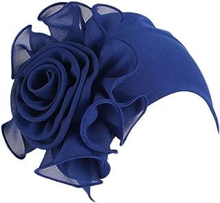 Armfre Tops Womens Muslim Side Lace Flowers Cancer Chemo Hat Turban Headbands Hair Loss Wrap Cap Slouchy Skullies Beanie Hats Soft Breathable Headgear Ladies Yoga Sleep Caps