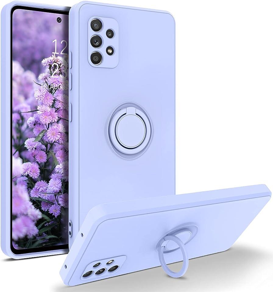 YINLAI Samsung Galaxy A52 Hülle Silikon, Handyhülle Samsung A52 mit 360 Grad Ring Holder Ständer Leuchten Soft Gel Matte rutschfeste Fallschutz Kratzfest Schutzhülle für Samsung A52 5G,Violett/Lila