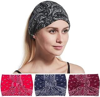 Brishow Retro Cross Headband Boho Elastic Bandana Head Wrap Scarf Vintage Stretchy Hair Accessories for Women and Girls (Pack of 4)