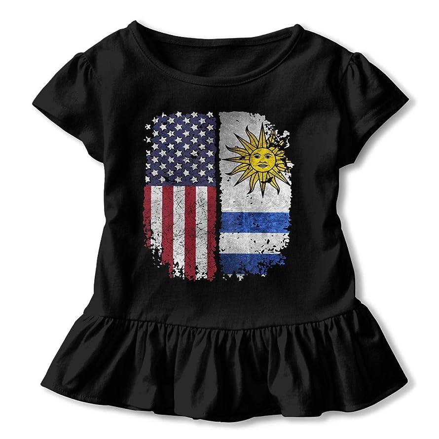 Aloahh American Uruguay Uruguayan Toddler Baby Girls Dress Cozy Ruffles T-Shirt Short-Sleeved for 2-6T