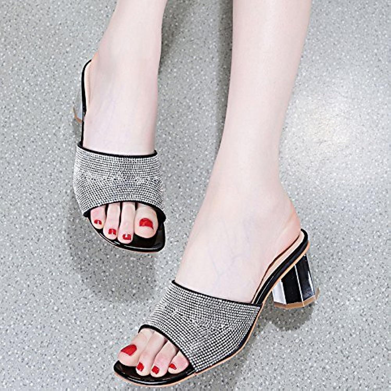 KPHY-Di Nuovo 6Cm Tac  A Spillo Pantofole Donna Summer Pesante Ttuttione Acqua Trapano Fico Pantofole Infradito Moda Seali Sexy Perde Le Sautope