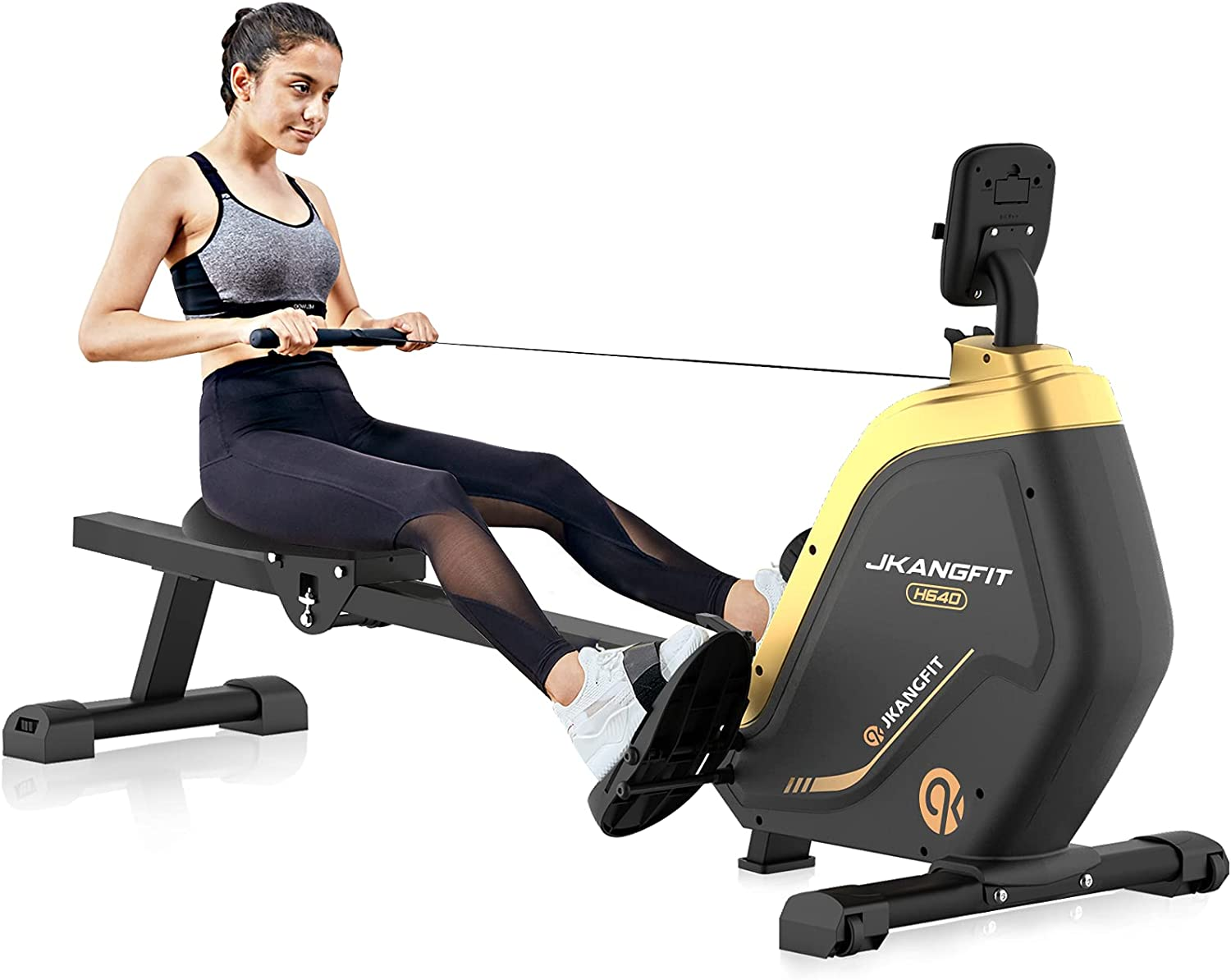 JKANGFIT Folding Rowing Machine - Rowing Machines for Home Use Indoor Magnetic Rower for Full Body with 16 Levels Resistance LCD Monitor Device Holder