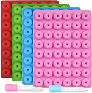 Newk Mini Donut Candy Silicone Mold, 4 Packs 48-Cavities Gummy Round Mold with 2 Droppers, Nonstick Food Grade Mold for Ca...