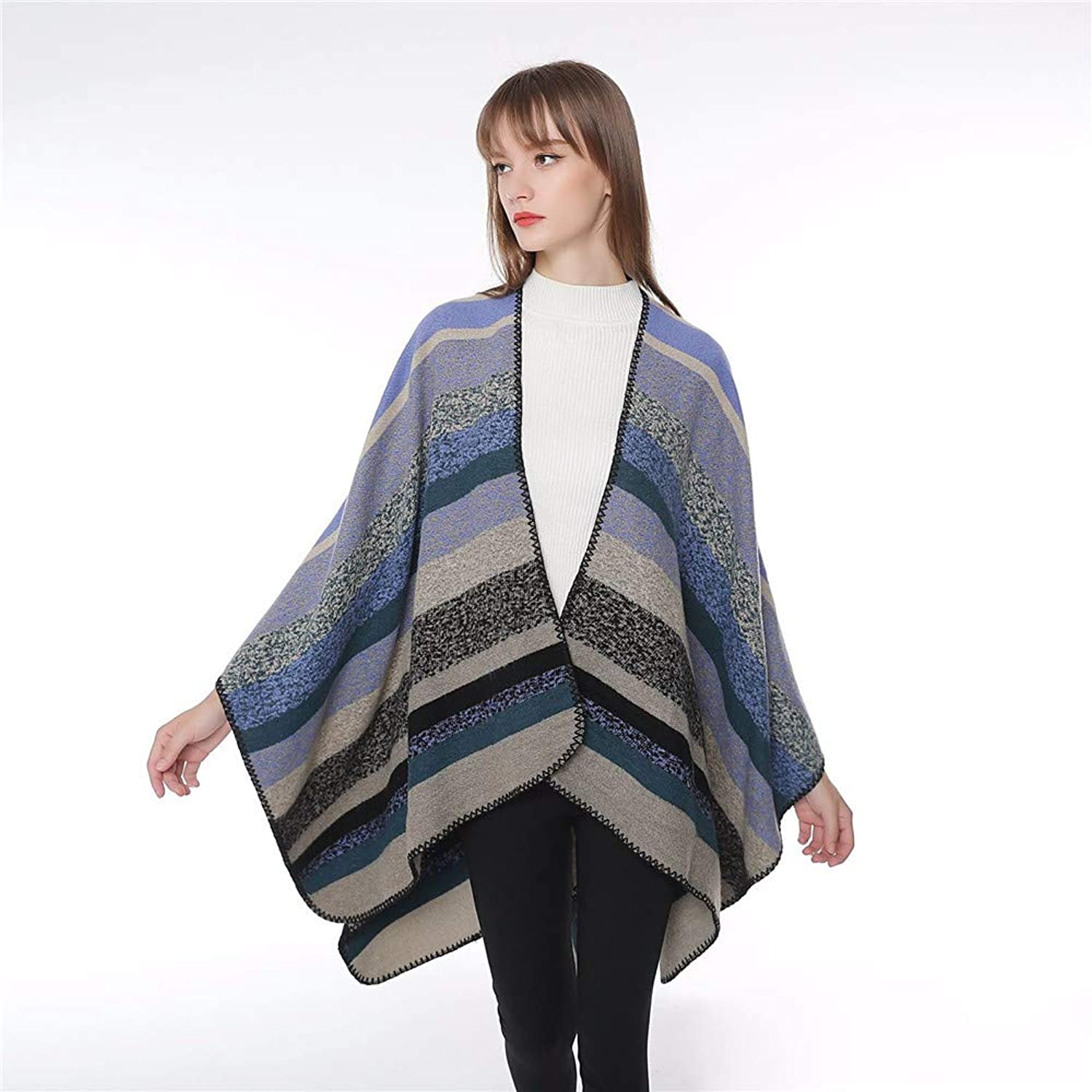 Winter Long Soft Warm Striped Jacquard Warm Shawl for Women Wool Spinning Shawl Long Stole (color   bluee)