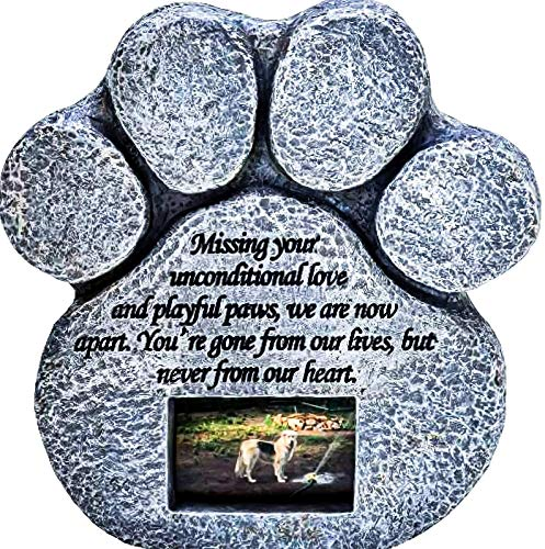 Pawprints Remembered Pet Memorial Stone - Features a Paw Print Photo Frame and Sympathy Poem -...