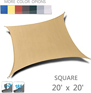 Love Story 20' x 20' Sand Square UV Block Sun Shade Sail Awning Perfect for Outdoor Lawn Patio Garden