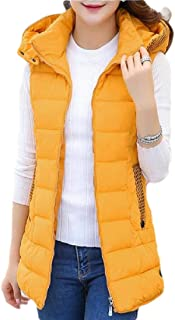 Women's Mid-Length Hooded Quilted Puffer Vest Sleeveless Coat Jacket