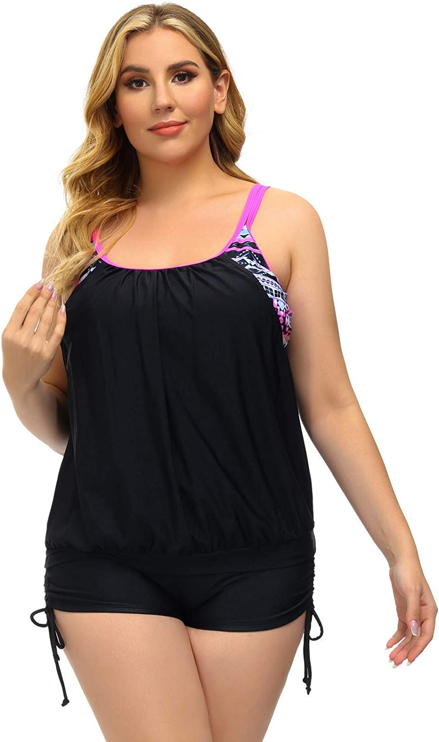 Hanna Nikole Womens Plus Size Striped Printed Strappy Tankini Top with Shorts Two Piece Swimsuit