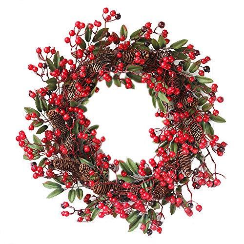 Rote Beeren Weihnachtskranz Ø 60cm, Hukz Künstlicher Türkranz Weihnachten Kranz Girlande für Haustür Deko Winter Haus Dekoration, Deko-Kranz Tannenkranz Adventskranz Weihnachts Weihnachtsgirlande