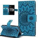 Kompatibel mit Schutzhülle Sony Xperia Z3 Compact Hülle Handyhülle,Prägung Mandala Blumen Sonnenblume Muster PU Lederhülle Flip Hülle Cover Schale Ständer Etui Wallet Tasche Hülle Schutzhülle,Blau