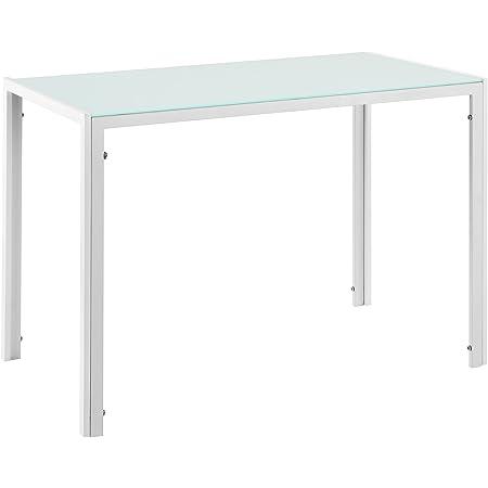 Table de Salle à Manger Design Meuble Minimaliste pour Cuisine Salon Plateau en Verre Pieds en Acier 105 x 60 x 75 cm Blanc