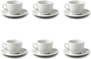 Lot composé de 6 tasses et 6 soucoupes à capuche en porcelaine blanche.