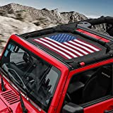 RT-TCZ Sunshade Mesh Shade Top Cover US Flag Polyester Durable Sun Shade for Jeep Wrangler 2007-2017 JK JKU 2 Door...