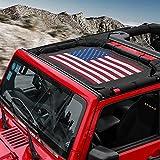 RT-TCZ Sunshade Mesh Shade Top Cover US Flag Polyester Durable Sun Shade for Jeep Wrangler 2007-2017 JK JKU 2 Door...