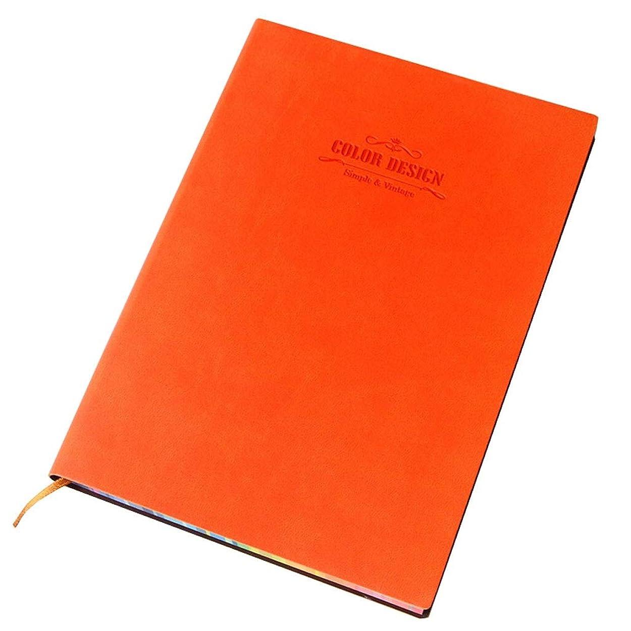 オフィスノート ノートブックソフトレザーメモ帳肥厚作業会議男性と女性のオフィスの記録帳112ページ (Color : Orange, サイズ : 14.8*21cm)
