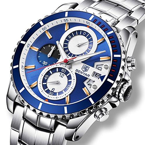Reloj de acero inoxidable y cuarzo en color azul y plateado, analógico, con cronógrafo y fecha, impermeable