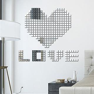 400pcs Bling Acrylic 3d Mural Diy Wall Sticker Mosaic Mirror Effect Home Decor