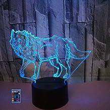 Creatieve 3D Wolf Nachtlampje USB Aangedreven Afstandsbediening Raak Schakelaar Decor Tafellamp 7/16 Kleur Veranderende LE...