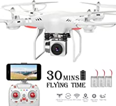 RC Drone,WiFi 720P HD Camera Live Video RC Quadcopter with Altitude Hold, Gravity Sensor Function, RTF and Easy to Fly for Beginner with 3 Batteries and 2 Motors (White)