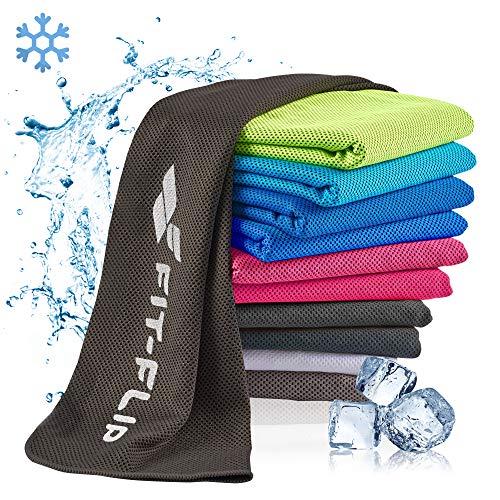 Fit-Flip Airflip Handtuch kühlend 100x30cm, Mikrofaser Sporthandtuch kühlend, Kühltuch, Cooling Towel, Mikrofaser Handtuch – Farbe: schwarz, Größe: 100x30cm