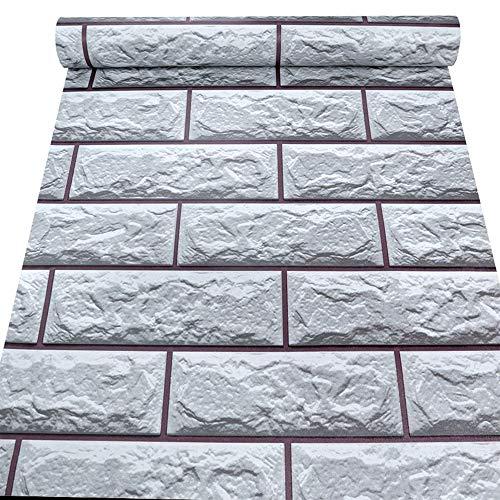 Kitchen-dream papel pintado ladrillo, 0.45 x 10M PVC Gris Blanco Impermeable Papel tapiz de ladrillo, Pegatinas de azulejos a prueba de humedad para baño Cocina DIY Home Art Room Decorar