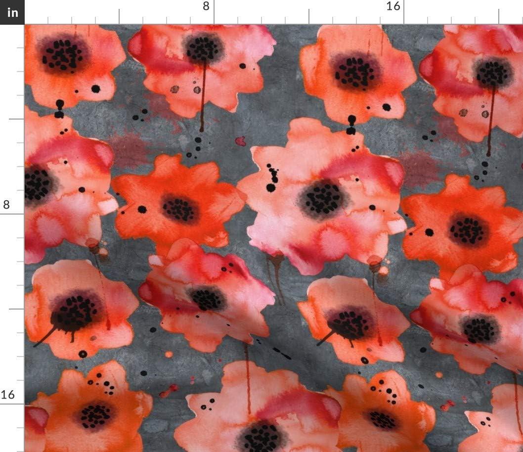 Spoonflower Fabric - Latest item Watercolor Sale Poppies Dark Painted Orange Gray
