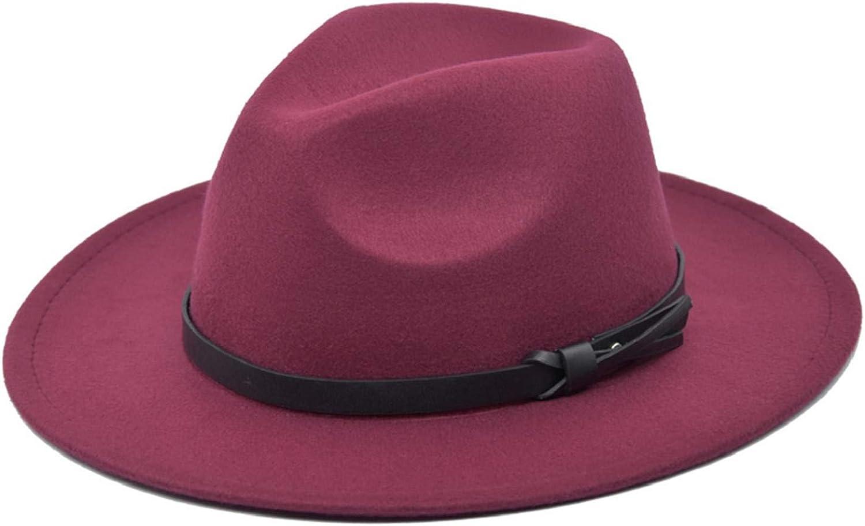 CMTOP Womens Fedora Hats with Belt Buckle Wide Brim Panama Fedora Cap Men /& Womens Wide Brim Soft Elegant Warm Jazz Cap Winter Hat Crushable 55-59 Adjustable Solid Color