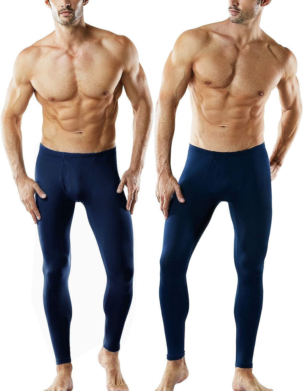 TSLA Men's Thermal Underwear Pants, Heated Warm Fleece Lined Long Johns Leggings, Winter Base Layer Bottoms