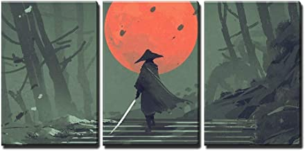 wall26 - 3 Piece Canvas Wall Art - Illustration - Samurai Standing on Stairway in Night Forest - Modern Home Decor Stretched and Framed Ready to Hang - 24