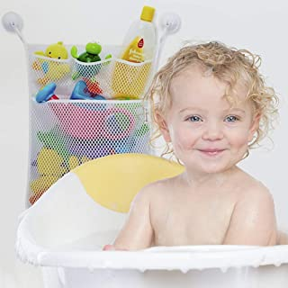 "Bath Toy Organizer -Baby Bath Toy Storage- Large 17x20"" Quick Dry Bathtub Mesh Net - Massive Baby Toy Storage Bin + 3 Soap Pockets - 4 Suction Hooks Bathroom Bag for Children"