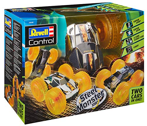 Revell Control 24640 RC Stunt Car Steel Monster 1080, 2.4GHz, Akku, 4WD Allrad, LED-Beleuchtung ferngesteuertes Auto, verchromte Oberseite, Schwarze Unterseite, 25 cm