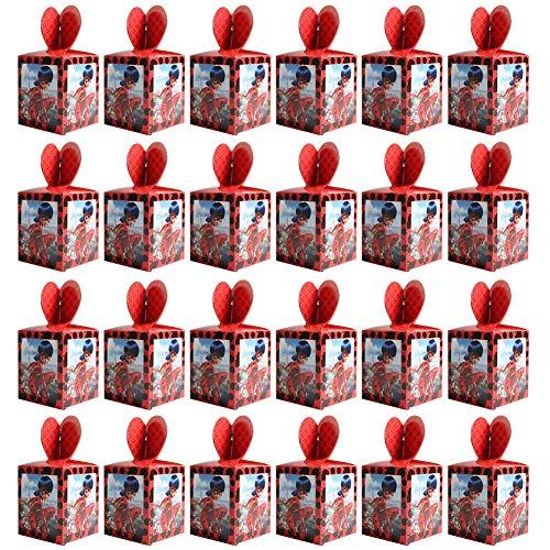 Paquete de 24 Cajas de Fiesta Bolsas de cumpleaños Ladybug Cajas de Caramelo Tema Reutilizable Bolsas de Fiesta Bolsas para Cumpleaños Niños la Fiesta Favorece la Bolsa para Fiesta de Cumpleaños