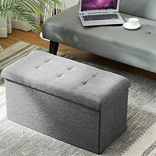 EXQUI Folding Storage Ottoman Bench Extra Padded Foldable Storage Box Linen Toy Storage Chest with Removable Lid for Living Room, Bedroom, Dark Grey, 76x38x38cm, BML76-QH
