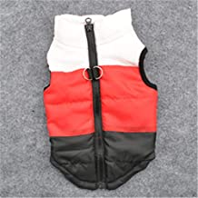Cute Pet Costume Small Dog Puppy Zip up Vest Harness with D-Ring (L,White+Red+Black)