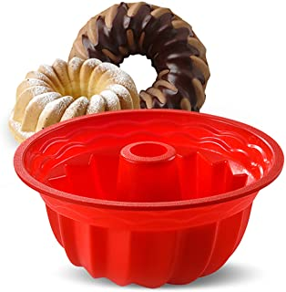 قالبهای پخت سیلیکون ، تابه کیک گرد Flok Aokinle ، تابه کیک غیر استیک مخصوص ژله ، موس ، کیک ، ژلاتین ، نان ، 9.45 اینچ Bakeware Red