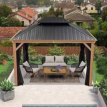 PURPLE LEAF 10  X 12  Outdoor Hardtop Gazebo for Patio Galvanized Steel Double Roof Permanent Canopy Teak Finish Coated Aluminum Frame Pavilion Gazebo with Netting