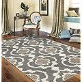 Cozy Moroccan Trellis Gray/Cream 9' X 12' Indoor Shag Area Rug