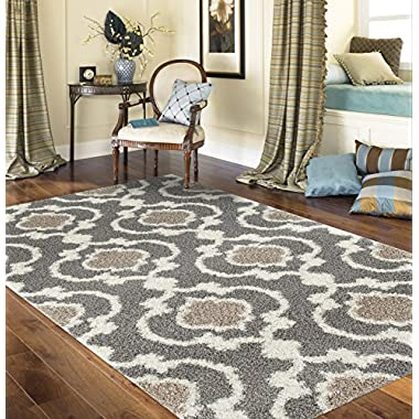 Rugshop Cozy Moroccan Trellis Indoor Shag Area Rug, 5'3  x 7'3 , Gray/Cream