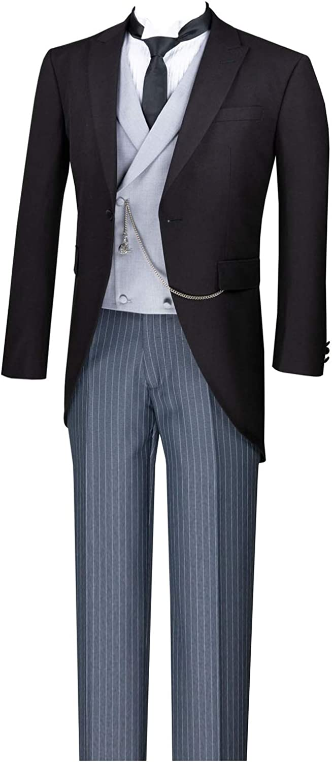 VINCI Modern Fit Black Tails Tuxedo with Solid Light Gray Vest and Gray Pine Stripe Pants (MTC-1)