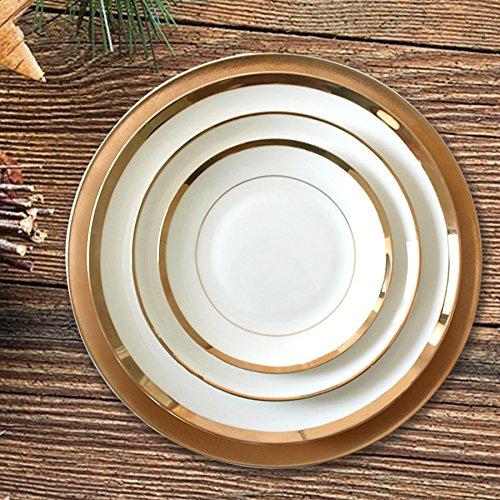 origin-AL Home & Style OZYOL -Elegance- Platzteller Porzellan mit 12k echtem Goldrand | Kuchenteller | Servierteller | Teller | Tischservice (Ø16)