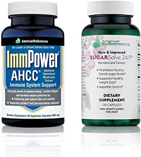 American BioSciences ImmPower 60 Count and SUGARSolve 24/7, Optimal Health Support Bundle, AHCC and Banaba Leaf Extract